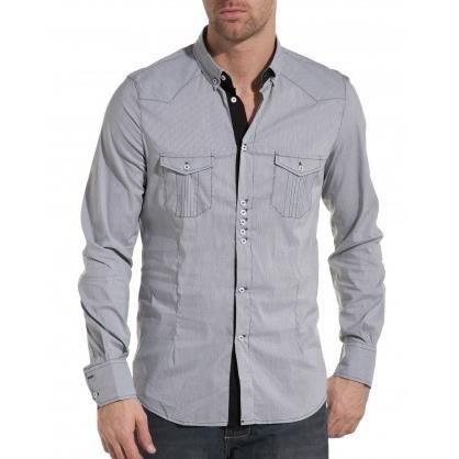 d30a8165c973f CHEMISE - CHEMISETTE chemise homme tendance et fashion noire à fines ra