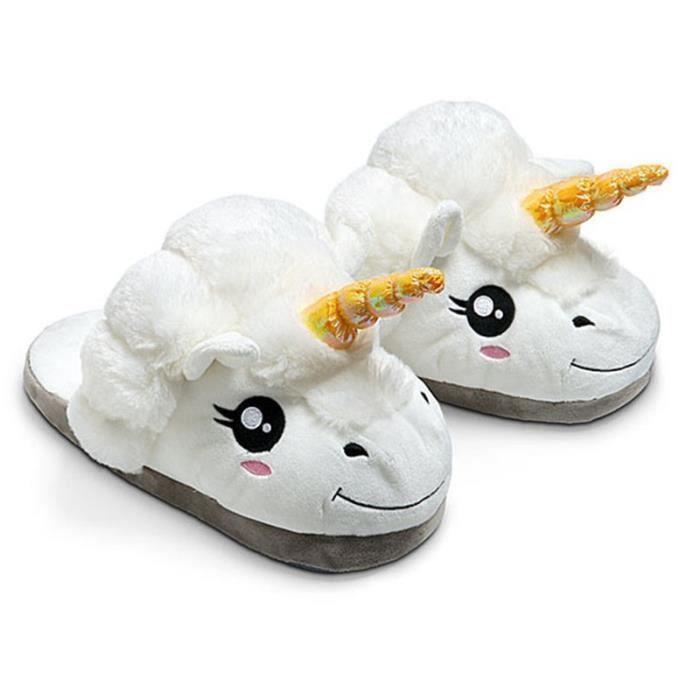 New Winter Indoor Pantoufles en peluche Accueil Chaussures Unicorn Chaussons pour Grown Survêtement Unisex Pantoufles