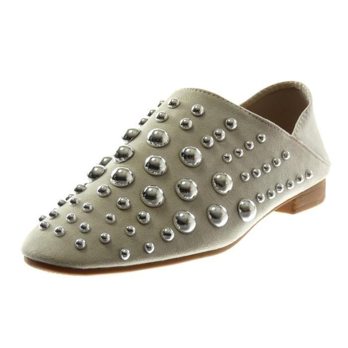 Angkorly - Chaussure Mode Babouche Mule slip-on souple reversible femme perle clouté Talon bloc 2 CM - Gris - T607 T 37