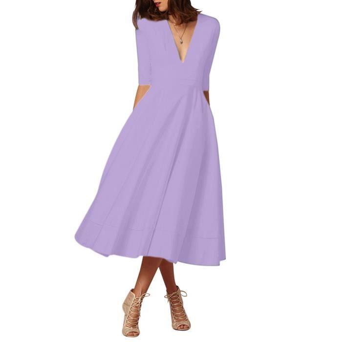 Robe de cocktail Femmes élégant col en V profond à taille haute Vintage Midi Robe Swing, s-XXXL 2RPZOE Taille-40