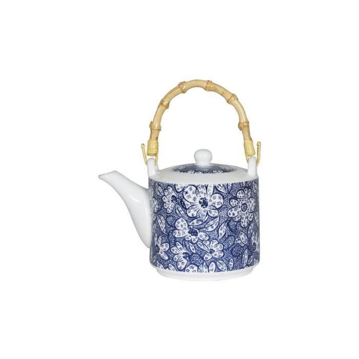 Théière décor floral japonisant porcelaine tons bleus et anse ...