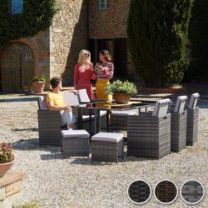 Table et chaise de jardin en resine tressee 10 place(s ...