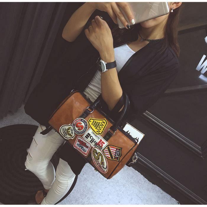 FMAILY®1PCS sacs à main nouvelle tendance Sac Lettre portable messager dépaule (brun)