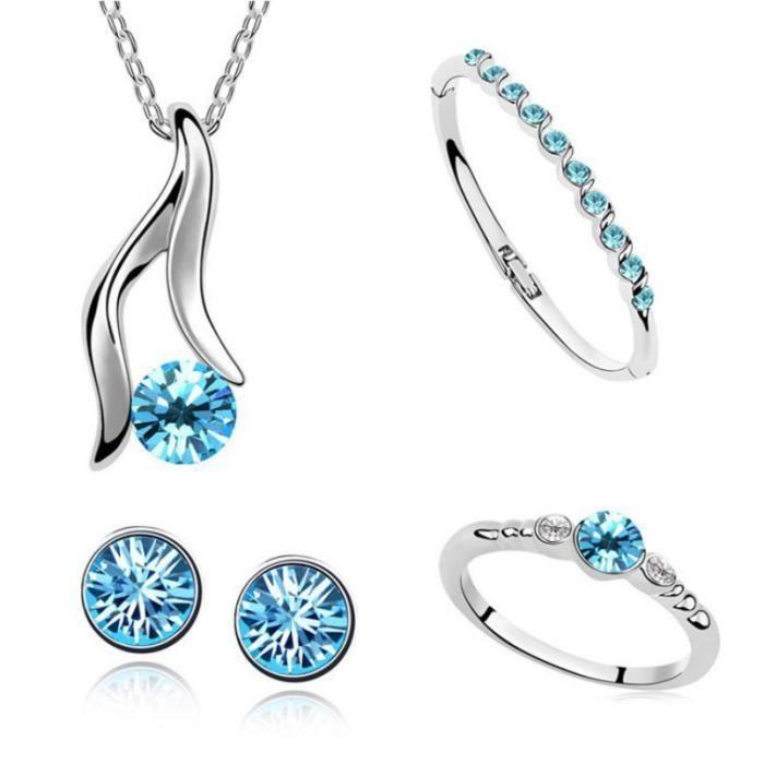 FMAILY® famille autrichienne de cristal de quatre (collier + boucles doreilles + bracelet + Ring) (Bleu)