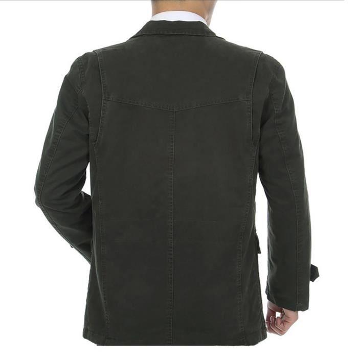 Homme Coton Mode breasted Ne En kaki Grande Blouson Veste Loisir Taille Masculin Tailleur Vêtement Militaire Jean Pas Single Col Vert 4qpwBS