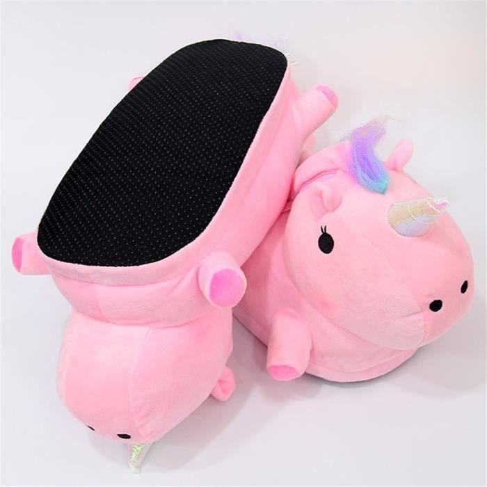 Chaussons Unicorn Mignon Doux Coton Chaussure Haut qualité rose Garde Au Chaud Plus De Cachemire Lueur Hiver Enfant Chausson 34