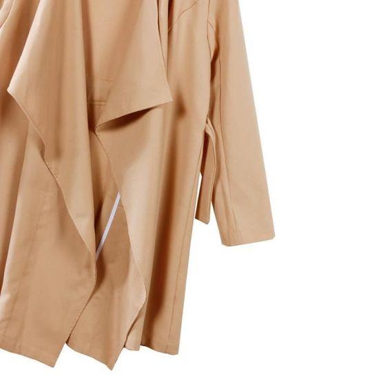 Lansman Solide Veste Bandage Lâches Outwear femmes Coupe vent Em7706225 Manteau Tops De Manches Parka Longues qrIrzg0w