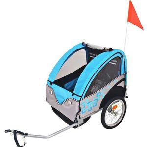 REMORQUE VÉLO vidaXL Remorque de vélo pour enfants Gris et bleu