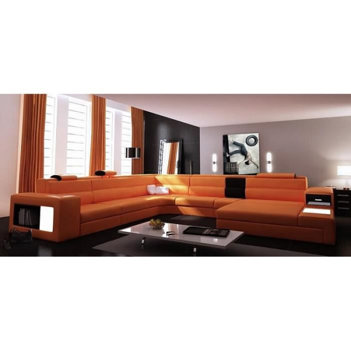 Canap panoramique cuir orange angle droit achat vente for Canape panoramique cuir