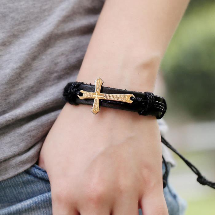 BRACELET - GOURMETTE Femmes Hommes Croix Multilayer Charms Chain Bracel