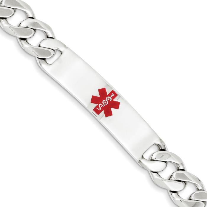 Argent Sterling poli Bracelet lien ID Curb médical - 19 cm