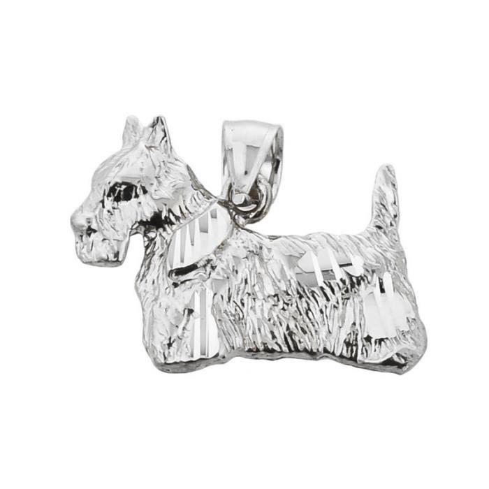 Collier Pendentif10 ct Or Blanc 471/1000 diamant Coupe écossaise Collier PendentifTerrier (vient avec une Chaîne de 45 cm)