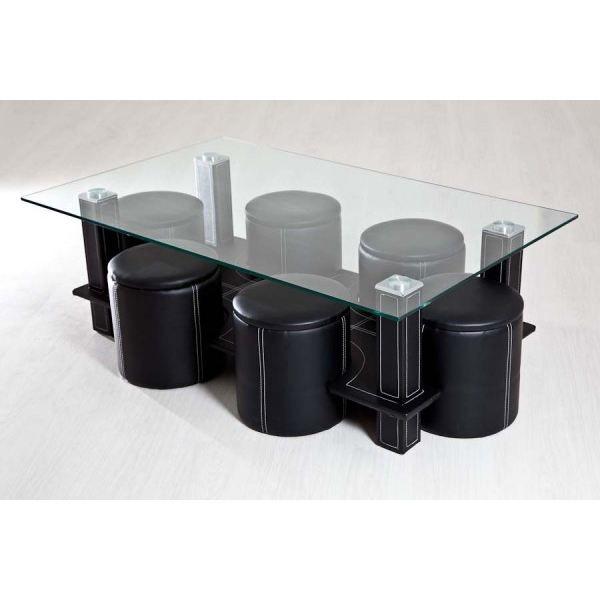 Miranda Noir Table Basse Avec 6 Poufs Encastr Achat Vente