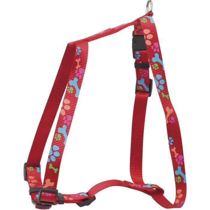 Chapuis Sellerie Harnais Réglable Pour Chien - Sangle Nylon Motif Pattes Rouge Largeur 25 Mm -dimensions 70-90 Cm Taille Xl