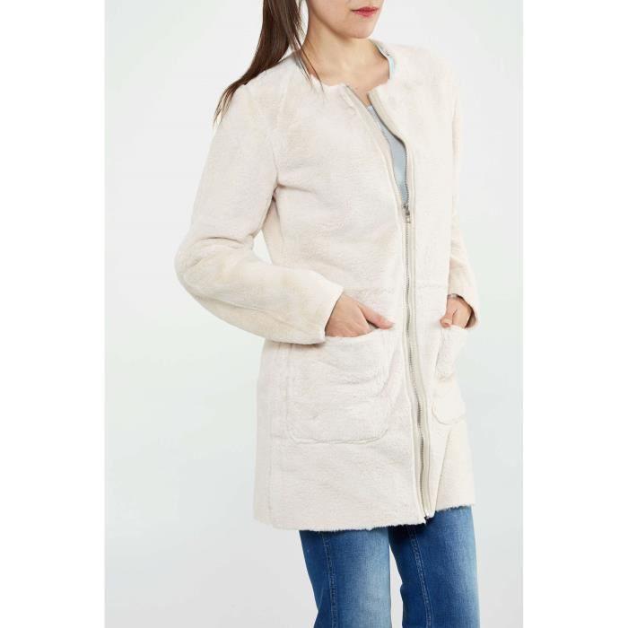 Manteau Oversized Only Onllinda Ecru Femme Blanc Ecru - Achat ... 9654a35c8786