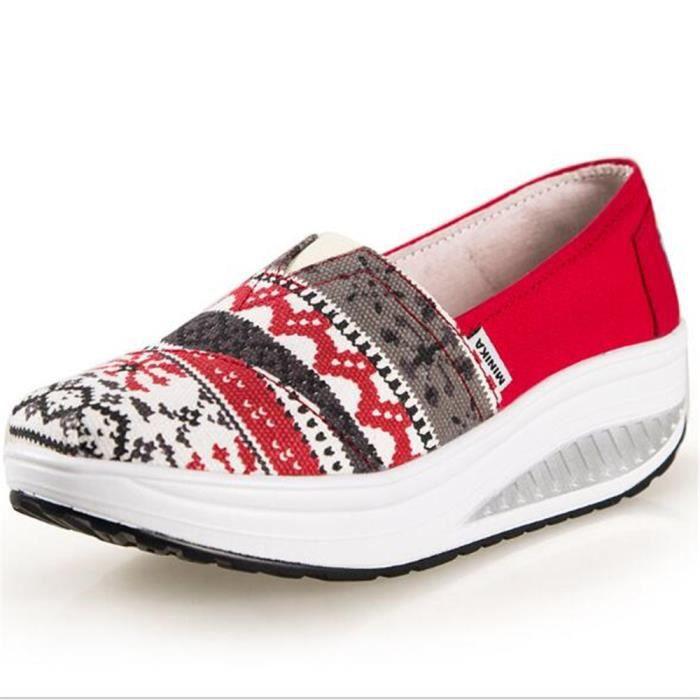 chaussure femmes Nouvelle Mode Moccasin plates à fond épais Marque De Luxe Loafer femme Grande Taille hauteur croissante Confortable