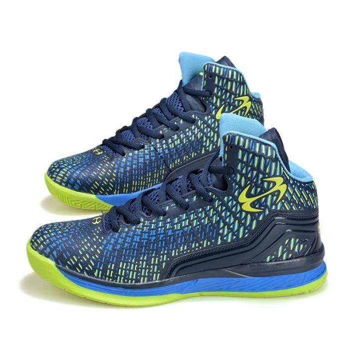 Basket Hommes Mode Chaussures de course RespirantCasualChaussures - Bleu-vert
