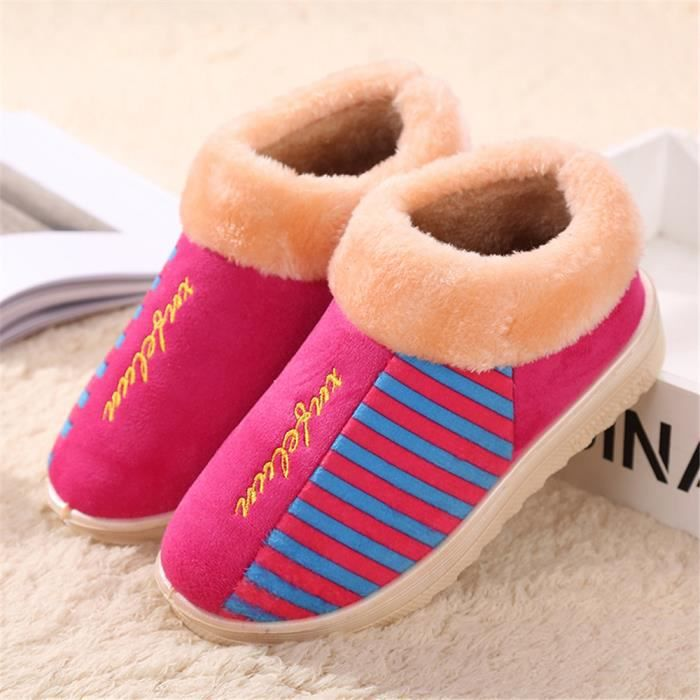 Femme Chausson Plus De Coton Chaussons chaud Durable Confortable Simple Chaussure Série à domicile Classique doux Taille 36-40 JdJtTd
