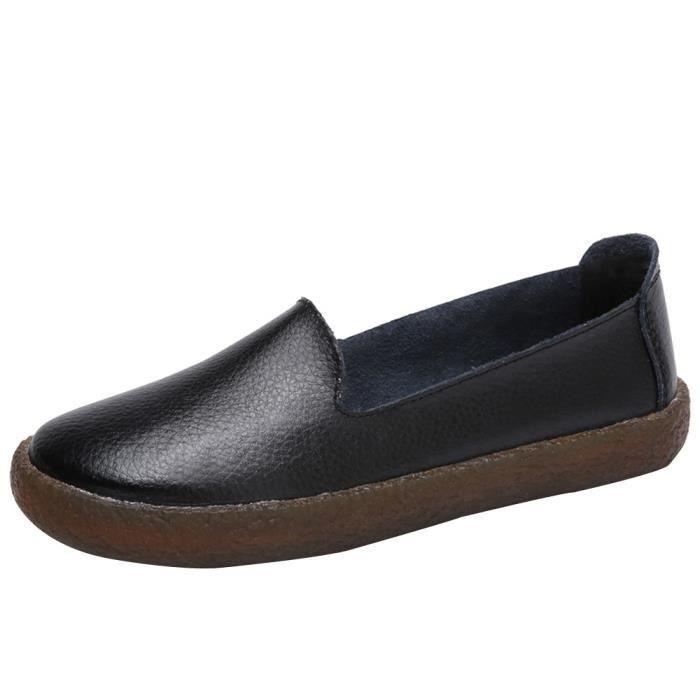 Enfiler Chaussures En Bottes Cuir Mode Carré Plates Bout À Femmes 0yN8nOmPvw