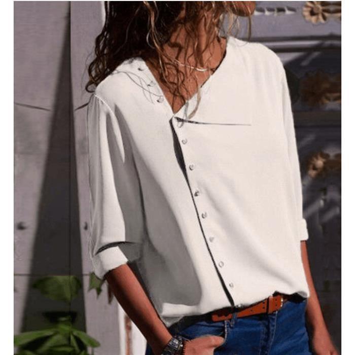 grande remise de 2019 2019 real livraison gratuite Femme Chemise en Mousseline de Soie des T-Shirt à Manches Longues  Irrégulière Bouton V-Neck Chic Blouse Blanc