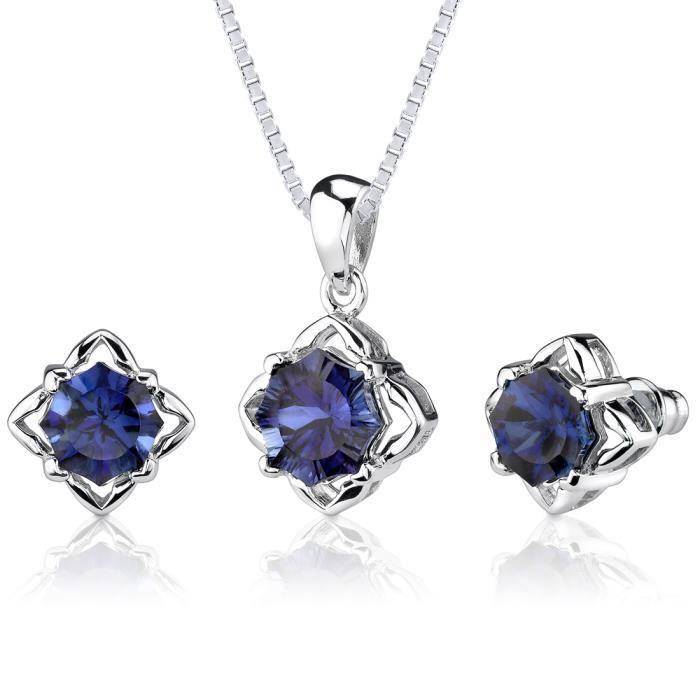 Parure-Femme- -Argent- Saphir Bleu
