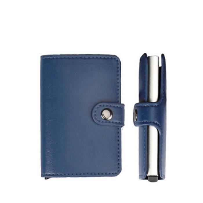 bu Crédit Carte Id Cuir Portefeuille Homme Protecteur En Fer Porte Inoxydable Dedasing® Bleu port1495 De xnU4qR7wp