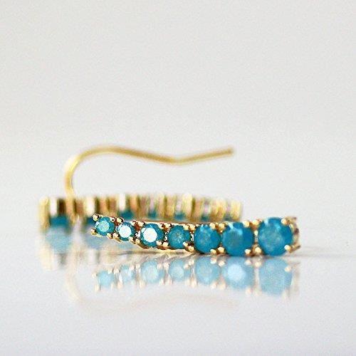 Womens Gold Plated Blue Ear Cuff Earring - Left Ear One Single Ear Pin DJB6T