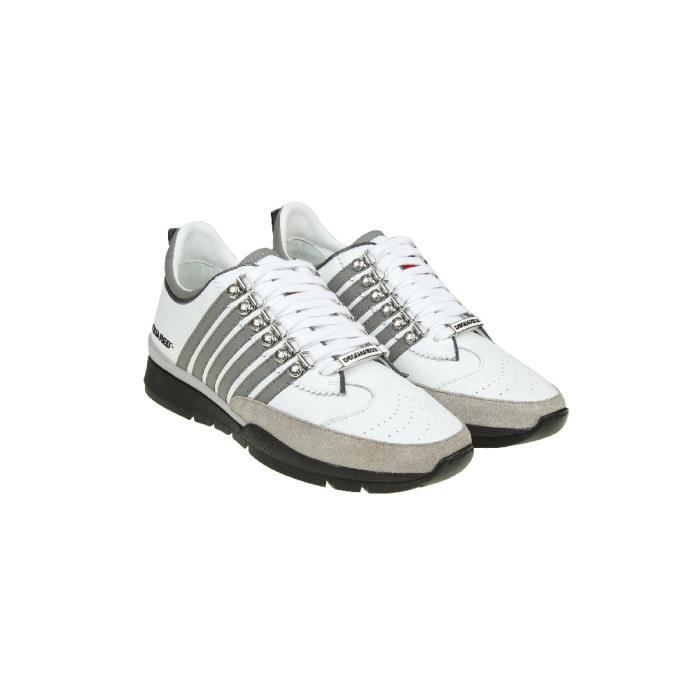 DSQUARED2 HOMME SNM01011157M182 BLANC CUIR BASKETS