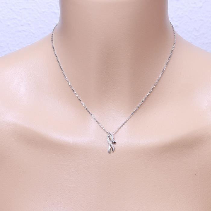 Pendentif Or 750 Diamant ref 44685 Blanc