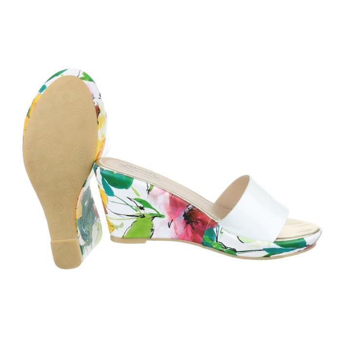 femme sandale chaussure chaussures d'été chaussures de plage semelle compensée Wedges sandalette mule blanc