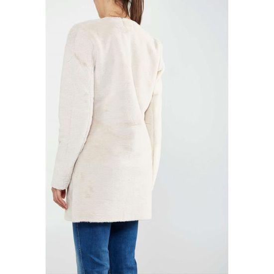 Manteau Oversized Only Onllinda Ecru Femme Blanc Ecru - Achat   Vente  manteau - caban - Soldes  dès le 9 janvier ! Cdiscount d9c07666f8a2