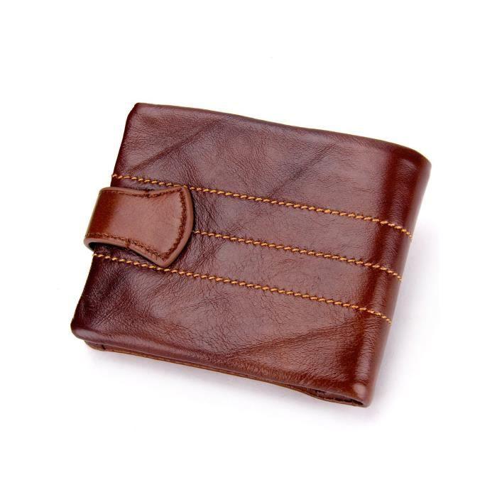 En cuir véritable peau de vache court mince Slimfold Wallet Brown Couleur NXS1G