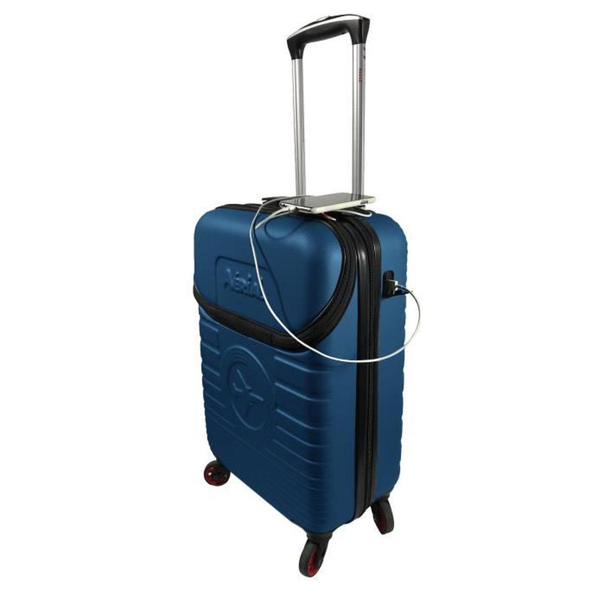 site réputé d5276 bea73 Valise cabine rigide Easyjet et Ryanair 4 roulettes 55 cm compartiment  ordinateur Bleu - AERIAL 115BLF-V2