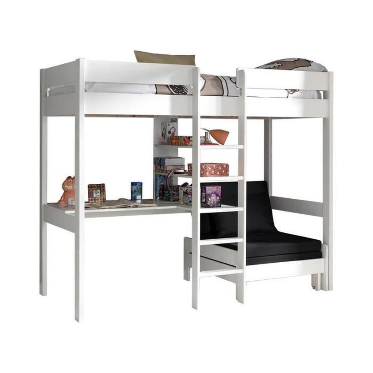 lit mezzanine combin 90x200 cm avec fauteuil extensible en pin massif coloris blanc blanc. Black Bedroom Furniture Sets. Home Design Ideas