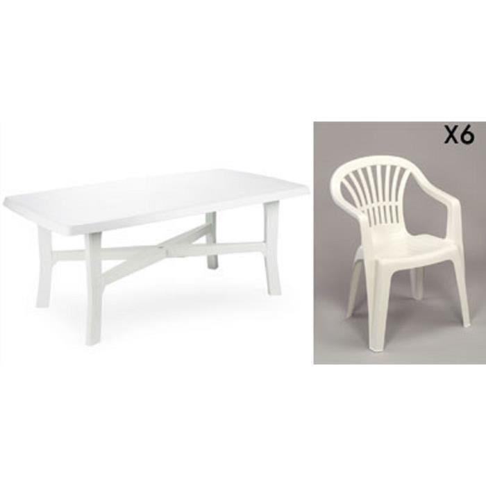 Grande table 180 cm + 6 fauteuils empilables en plastique ...
