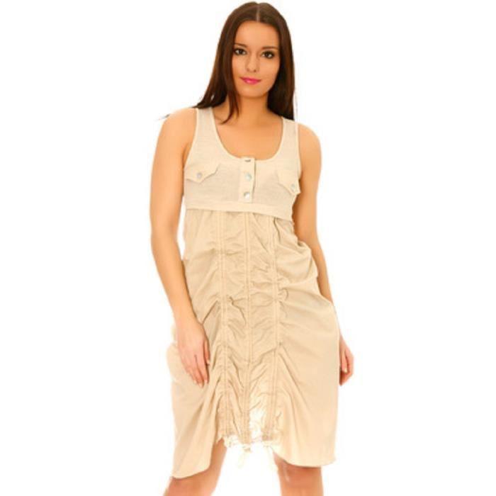 Robe beige sans manches Beige matière style lin bouffante et plissée détail poches et boutons