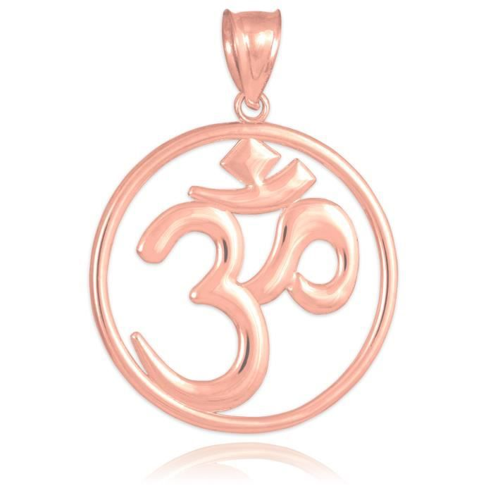 Collier Pendentif14 ct Or Rose 585/1000Om (Ohm) Ouvertwork médaillon