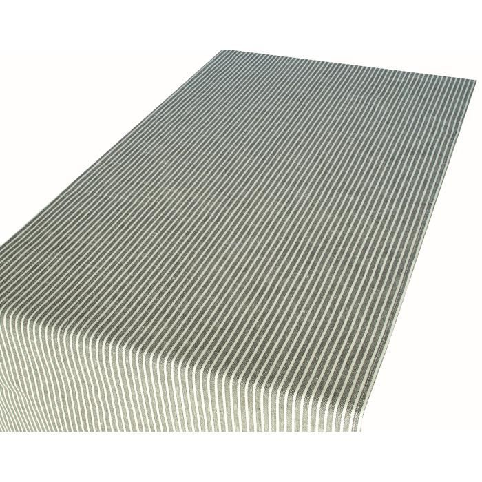 Chemin de table ray noir et blanc lin et coton achat vente chemin de table cdiscount - Chemin de table en lin ...
