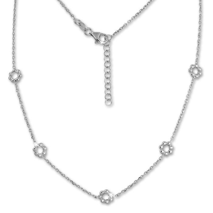 SilberDream Collier Chaine Fleur 925 Argent Sterling 44cm - 47cm pour Femme SDK11444J