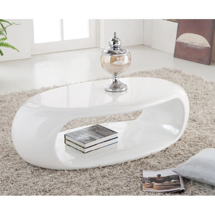 Table Basse Moderne Liora Laquee Ovale Blanc Achat Vente