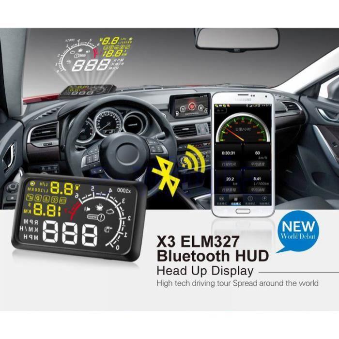 """5.5 """"voiture OBD2 II Bluetooth HUD Head Up Affichage MPH KMH Système d'avertissement de vitesse"""