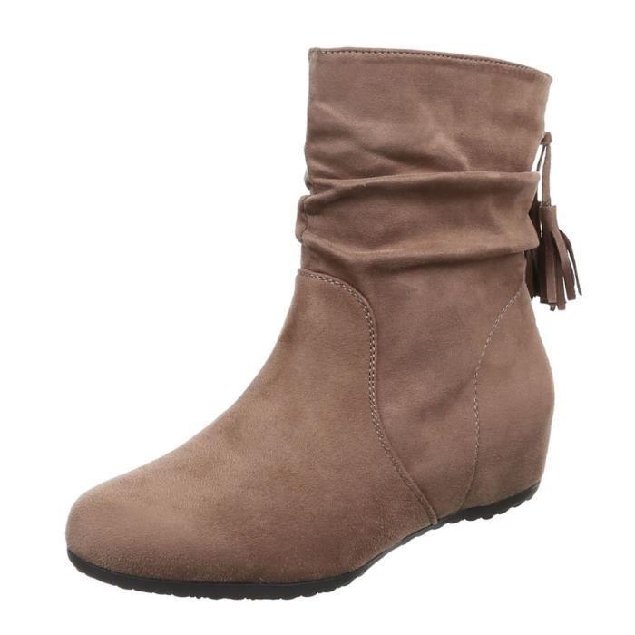 femme bottine chaussure semelle à talon compensé Wedges Boots marron clair a93b19e705a2