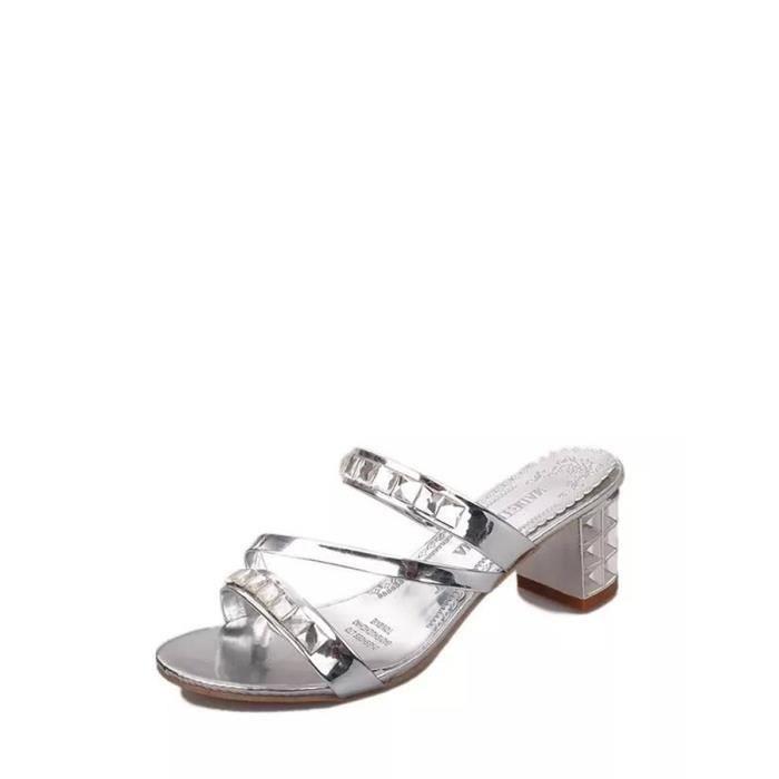 Sandales strass ornement chatoyante talon carré Faddish Chaussures femme 4880758