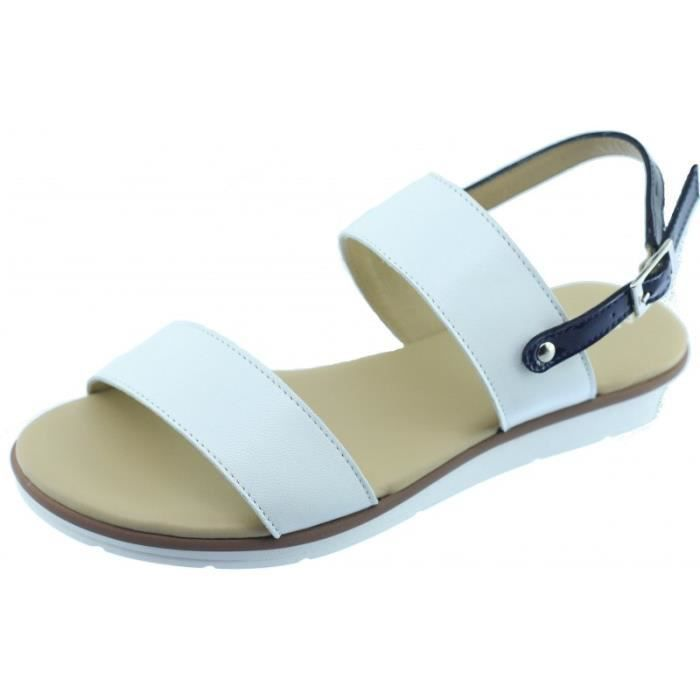 TRUMB - Nu-pied souple talon plat et bride arrière Sandale Femme chaussures confort marque Aerobics cuir blanc et vernis bleu