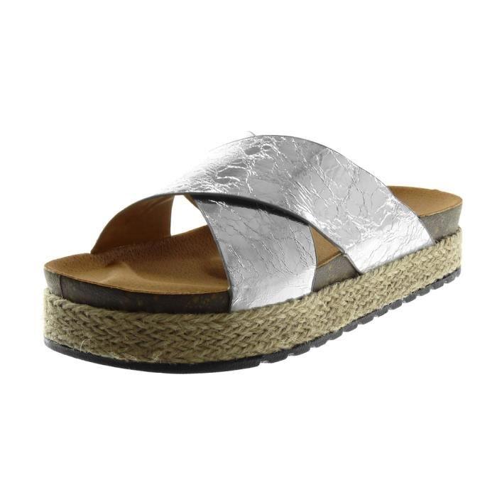 Angkorly - Chaussure Mode Sandale Mule slip-on effet vieilli plateforme femme brillant corde tréssé Talon compensé plateforme 4 CM cQAZa