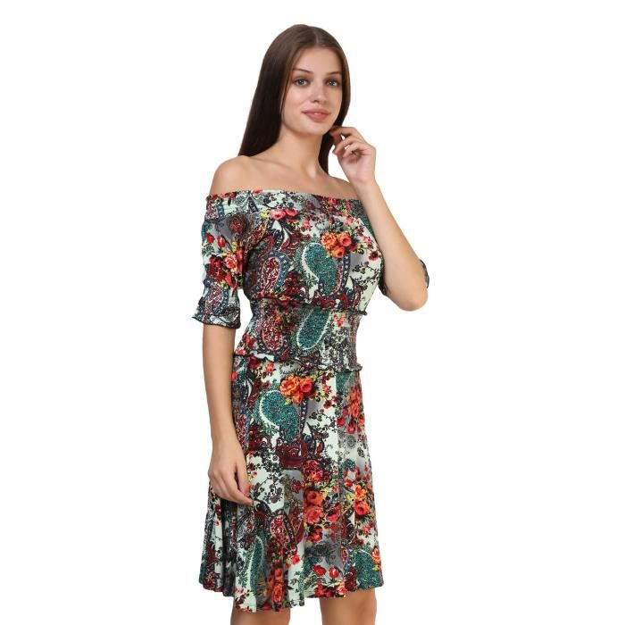 Womens Glamfab Printed Off Shoulder Dress 1Z2AIE Taille-34