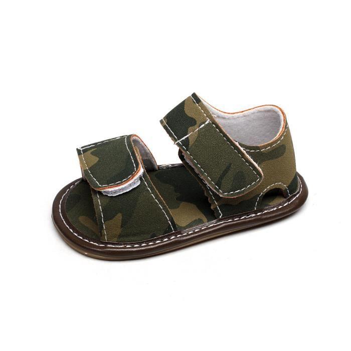Enfant Cuir Sandales Né Souple Platesvert Fille D'été Bébé En De Chaussures Garçon Camouflage Nouveau Yfg6vbyI7