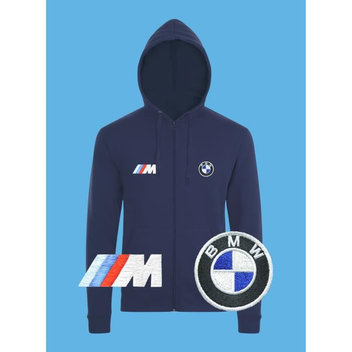 Bmw M Power Sweat Capuche Pull Zippe Logo Brode Bleu Manches Longues
