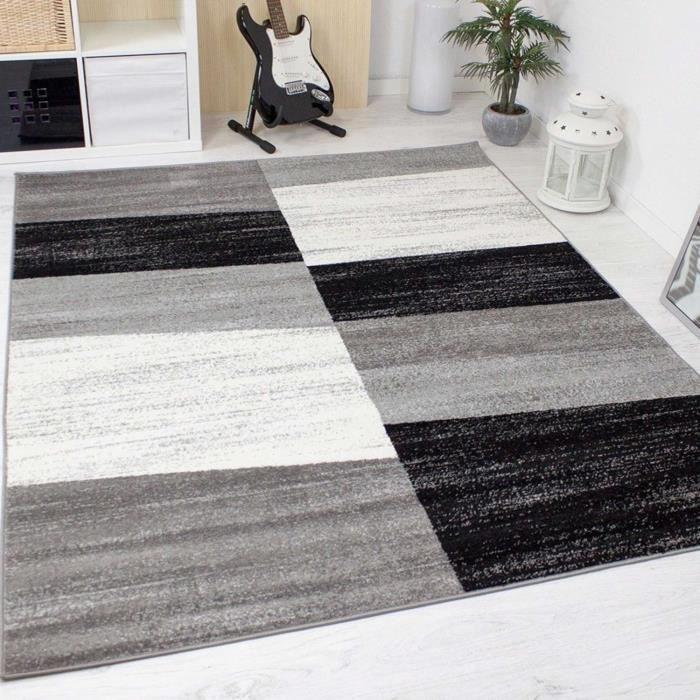 Tapis design pour le salon modern gris, blanc et noir [60x110 cm ...