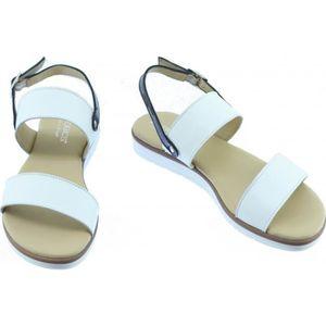 TRUMB - Nu-pied souple talon plat et bride arrière Sandale Femme chaussures confort marque Aerobics cuir beige et vernis rouge oONggVX